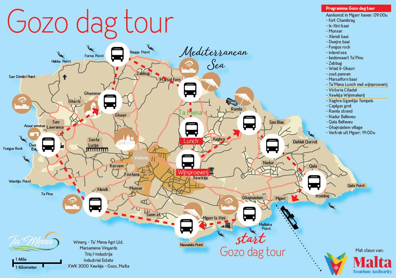 Kaart Gozo tour